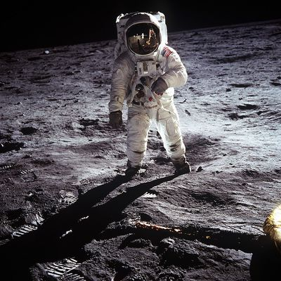 Buzz Aldrin walks on the moon, July 20, 1969. NASA Photo